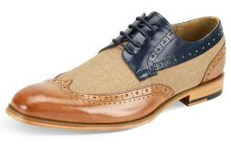 Men's Dress Shoes Wing Tip Oxford Tan/Navy Blue Leather GIOV