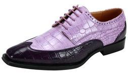 Men's Dress Shoes Wing Tip Oxford Purple/Lilac 2-Tone Gator
