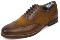 Men's STACY ADAMS Dress Shoes Wing Tip Oxford Brown/Tan Leat