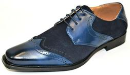 Men's Dress Shoes Wing Tip Oxford Navy Blue Suede Lace Up AN