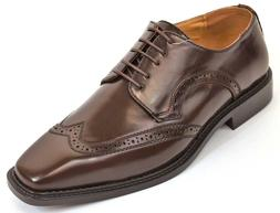 Men's Dress Shoes Wing Tip Oxford Solid Brown Wide Width ANT