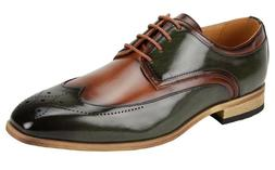Men's Dress Shoes Wing Tip Oxford Olive Green/Tan 2-Tone ANT