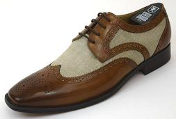Men's Dress Shoes Wing Tip Oxford Beige Multi Leather Stacy
