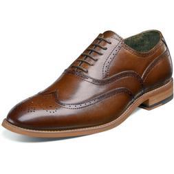 STACY ADAMS Men's Dunbar-Wingtip Oxford, Cognac, 11 M US
