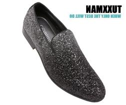 Men's Faded Glitter Silver Black Slip On Dress Shoes TUXXMAN