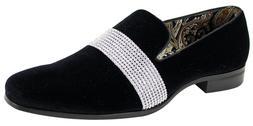 Men's Fancy Dress Casual Shoes Black/Silver Slip On Loafers