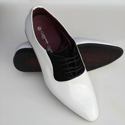 Men's  Fashion Dress Shoes Tuxedo Wedding  Color WHT/BLK