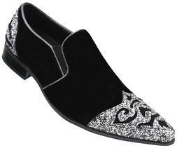 Amali Men's Faux Velvet Embellished Loafer with Metallic Spa