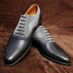 Handmade Men's Genuine Black Leather & Grey Suede Oxford Bro