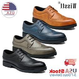 Men's Genuine Leather Dress Casual Lace-up Comfort Oxford Fo