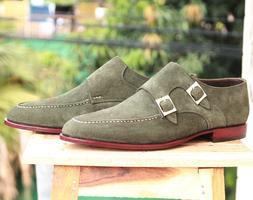 Handmade Men's Green Suede Double Monk Fashion Dress Shoes