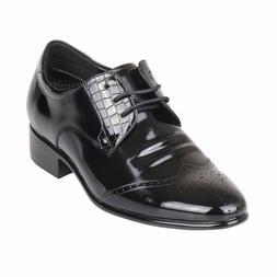 Men's Hidden High Heels Wide Comfy Wingtip Leather Dress Sho
