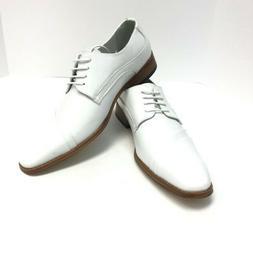Amali Men's Kalmin White Dress Shoes Folded Vamp Leather Lin