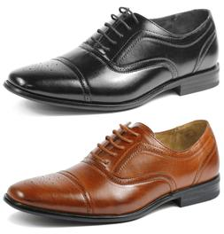 Delli Aldo Men's Lace Up Cap Toe Oxford Dress Shoes w/ Leath