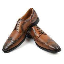 Men's Lace Up Dress Shoes Oxfords Wing Tip Herringbone Forma