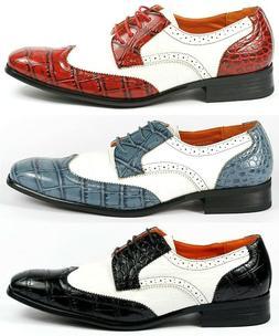 Ferro Aldo Men's Lace Up Wing Tip Oxford Dress Shoes w/ Leat