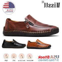 Men's Leather Casual Soft Loafers Dress Up Shoes Breathable