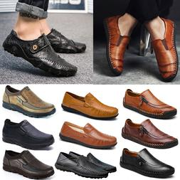 US Men Leather Casual Vintage Dress Shoes Slip On Breathable