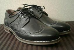 NUNN BUSH Men's Leather Charcoal Wingtip Oxford Dress Shoes,