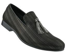 Amali Men's Metallic Slip On Smoking Slippers w/ Striped Des