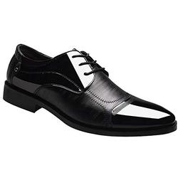 Feitengtd Men's Modern Classic Lace Up Leather Lined Perfora