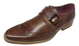 Amali Men's Monk Strap Cognac Wing Tip Dress Shoes Driscoll-