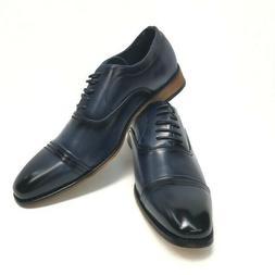 Amali Men's Navy Oxford Dress Shoes Burnished Smooth lace Up