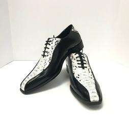 Bolano Men's Oxford Black White Dress Shoes Faux Snake Print