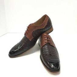 Amali Men's Oxford Brown Cognac Dress Shoes Exotic Print Siz
