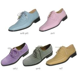 Men's Oxford Faux Leather Croco-Embossed Dress Shoes Lilac P