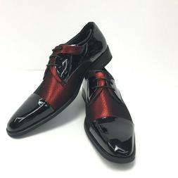 Amali Men's Red Patent Black Fishnet Tuxedo Dress Shoes Drap