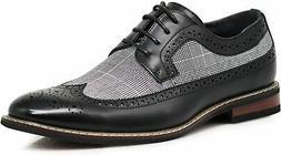 Enzo Romeo Men's Shoes TITAN-01-BLK Leather Lace Up Dress, B