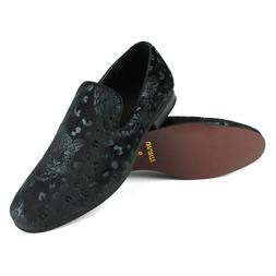 Men's Slip On All Black Velvet Leopard Print Dress Shoes Loa