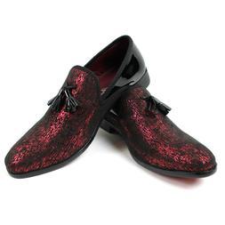 Men's Slip On Black/Red Velvet Tassel Tuxedo Loafers Formal