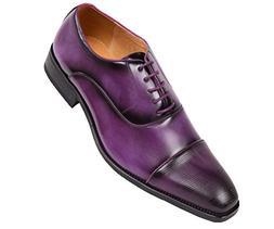 Amali Men's Smooth Faux Leather Cap Toe Oxford Dress Shoes S