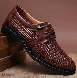 Men's Summer Leather Dress Shoes Hollow Out Lace-up Breathab