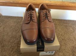 Clarks Men's Tilden Cap Oxford Shoe,Dark Tan Leather,11 W US