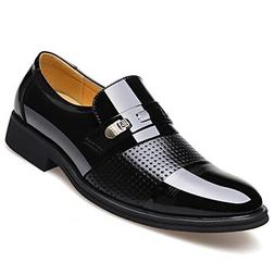 Blivener Men's Tuxedo Patent Leather Dress Shoes Slip on Oxf