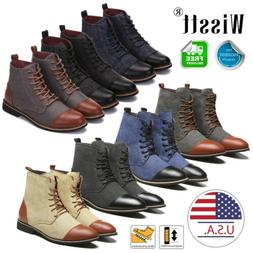 Men's two-tone Leather Martin Boots Dress Shoes Casual Chels