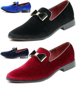 Men's Velvet Bow Tie Dress Loafers Slip On Classic Tuxedo Dr