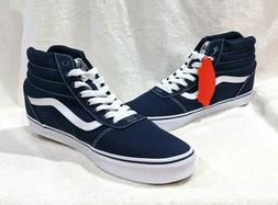 Vans Men's Ward Dress Blue/White Canvas Hi Top Skate Shoes -