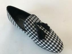 Amali Men's White/Black Houndstooth Smoking Dress Shoes Tass