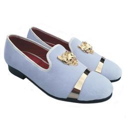 Men's White Velvet Loafers Formal Dress Shoes Buckle Slipper