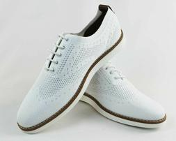 Men's White Wing Tip Knit Dress Casual Shoes Comfort Slip Re