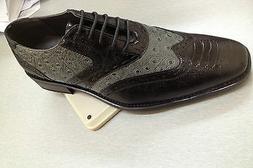 Men's Wing-tip Design Dress Shoes Ostrich Print Black/Gray C