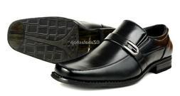 Men Squared toe Slip-on Dress Shoes Vamp Strap Buckle Dressy