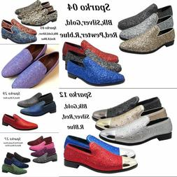 Men Vintage Glitter Stage Dress Shoes Tuxedos Loafers Slip O