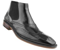 Asher Green Mens Black Double Gore Leather Wingtip Dress Boo