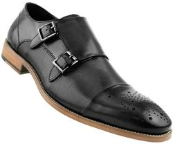 Asher Green Mens Black Genuine Leather Double Monkstrap w/ C