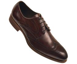 Asher Green Mens Brown Brushed Calf Leather Wingtip Lace Up